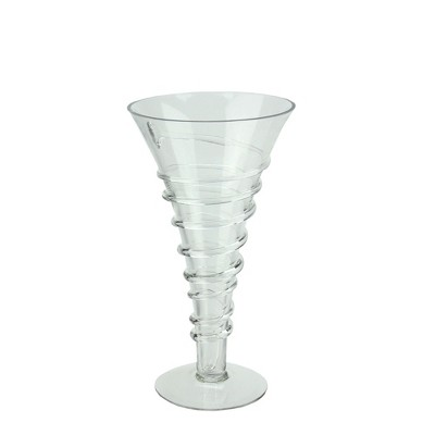 """Northlight 15.75"""" Spiral Accent Glass Trumpet Vase - Clear"""