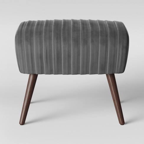Laurel Ruched Velvet Ottoman with Cone Legs - Opalhouse™ - image 1 of 4