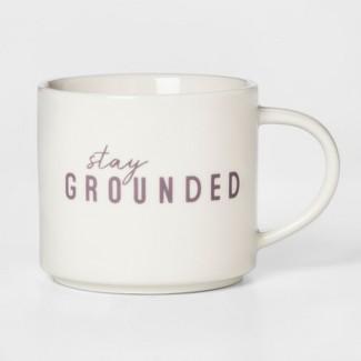 16oz Porcelain Stay Grounded Mug White/Purple - Room Essentials™