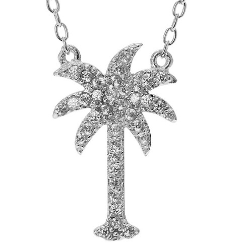 "2/5 CT. T.W. Round-cut CZ Pave Set Palm Tree Pendant Necklace in Sterling Silver - Silver (18"") - image 1 of 2"