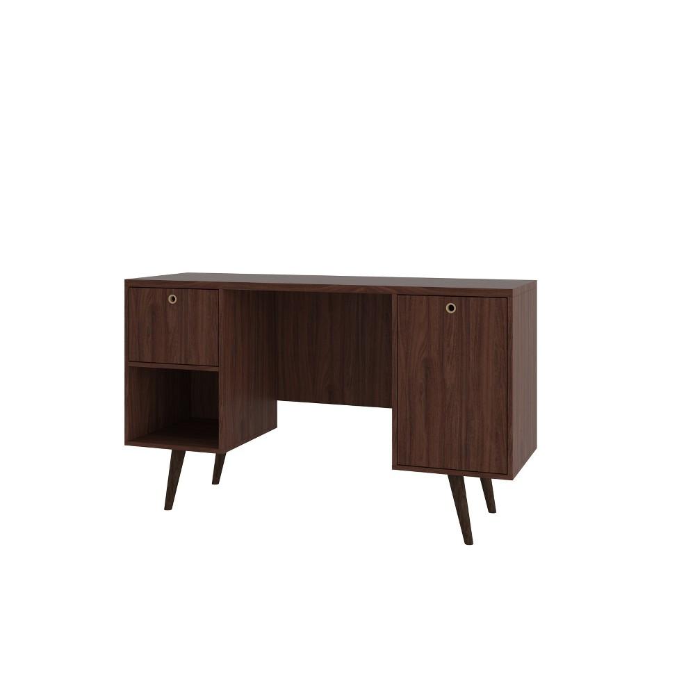 Edgar 1 Drawer Mid Century Office Desk Dark Brown - Manhattan Comfort