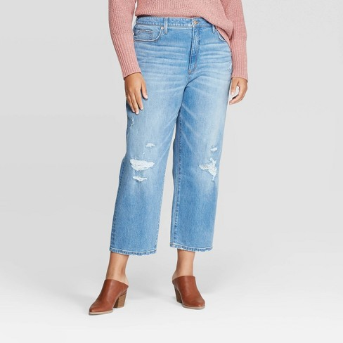 Women's Plus Size High-Rise Straight Cropped Jeans - Universal Thread™ Light Wash - image 1 of 3