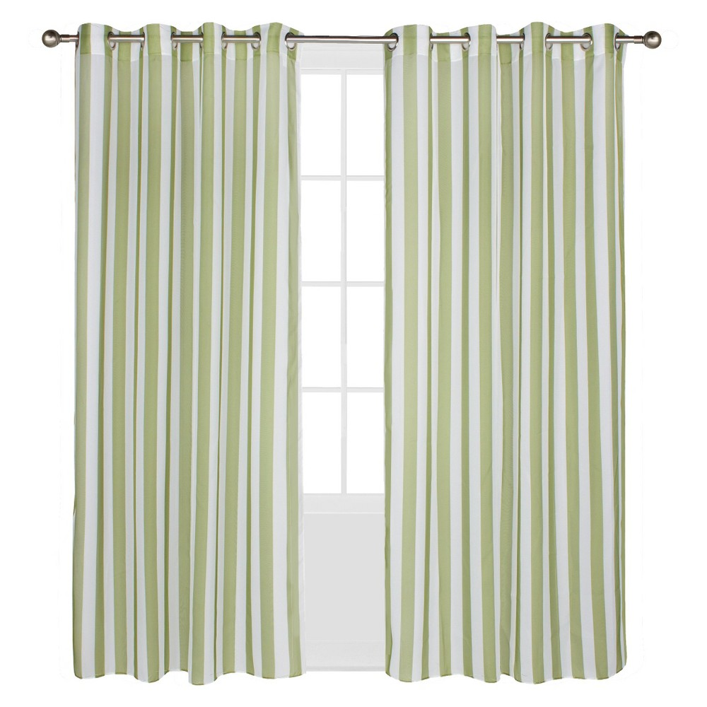 Outdoor Décor Escape Stripe Indoor/Outdoor Grommet Top Sheer Curtain Panel - Green (54