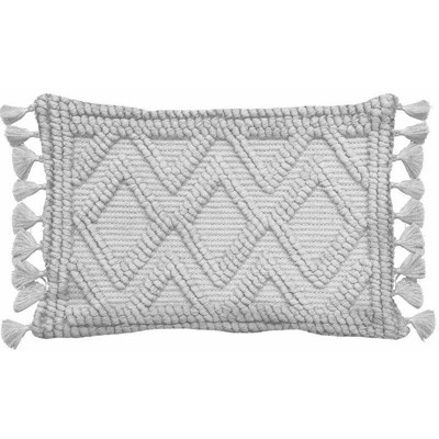 Diamond Woven Textured Lumbar Throw Pillow Gray - Opalhouse™