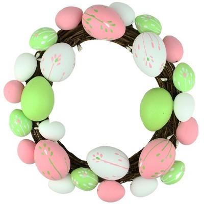 "Northlight 10"" Unlit Floral Stem Easter Egg Spring Grapevine Wreath - White/Green"