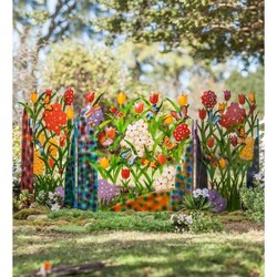 Metal Flower And Butterfly Garden Screen, 92''W X 42''H X 1.25''D - Wind & Weather