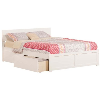 Atlantic Furniture Orlando Queen Flat Panel Foot Board w/ 2 Urban Bed Drawers White