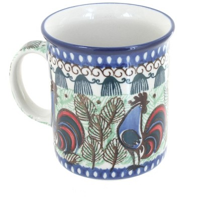 Blue Rose Polish Pottery Rooster Row Small Coffee Mug