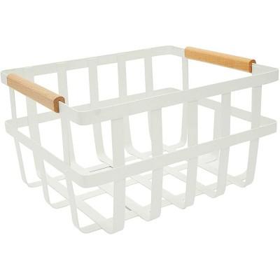 Farmlyn Creek Metal Fruit Wire Storage Basket with Wood Handles, Farmhouse Home Decor (12 x 9.75 x 6.5 In)