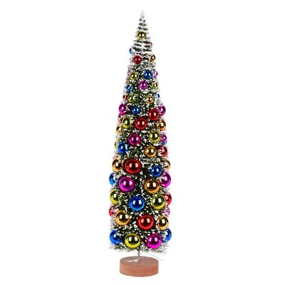 """Vickerman 24"""" Vintage Tabletop Frosted Green Artificial Christmas Tree, Multi-colored Ornament"""