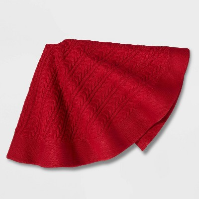 Cable Knit Tree Skirt Red - Wondershop™