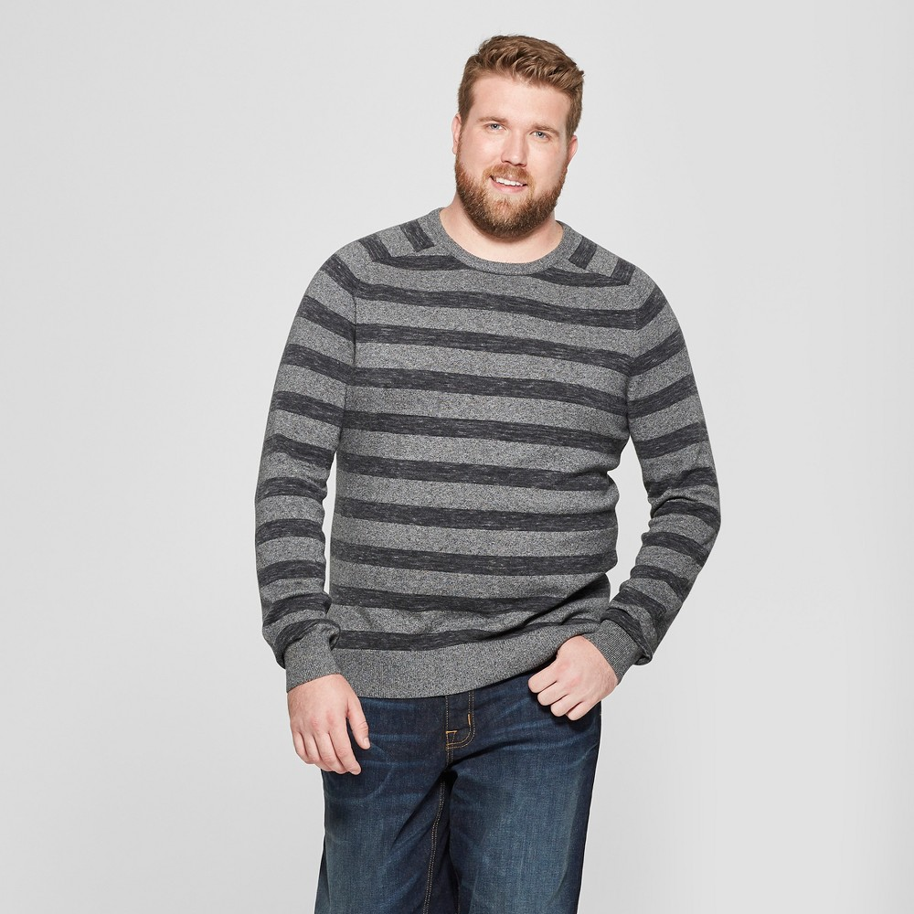 Men's Big & Tall Striped Crew Neck Sweater - Goodfellow & Co Charcoal Heather 2XB, Gray