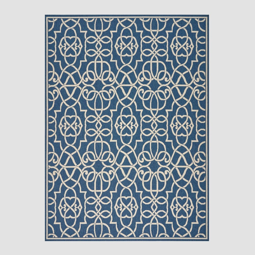 8' x 11' Belmont Geometric Outdoor Rug Navy/Ivory - Christopher Knight Home, Blue