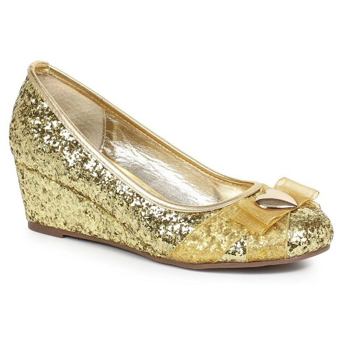 Gold Glitter Princess Costume Shoes with Heart Decor - image 1 of 1