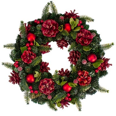 """Northlight 13"""" Red and Green Pine Cones and Ornaments Christmas Wreath"""