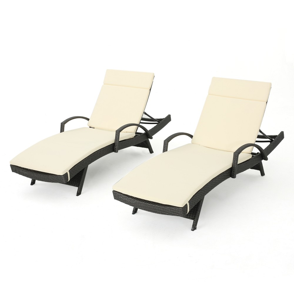 Salem Set of 2 Gray Wicker Adjustable Chaise Lounge with Arms - Beige - Christopher Knight Home
