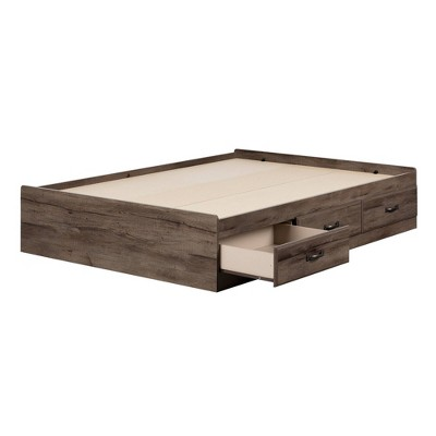 Full Ulysses Mates Bed with 3 Drawers Fall Oak - South Shore
