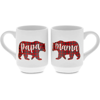 Sparkle and Bash 2-Pack 15 Oz Large White Ceramic Coffee Mugs Tea Cups for Couples, Papa Bear & Mama Bear