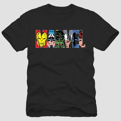 Men's Disney Marvel Characters Short Sleeve T-Shirt - Black