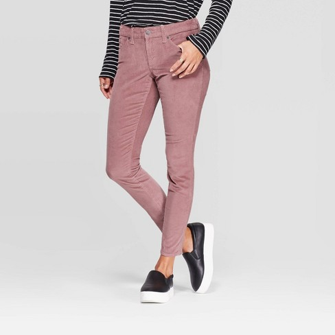 Women's Corduroy Mid-Rise Skinny Jeans - Universal Thread™ Pink - image 1 of 4