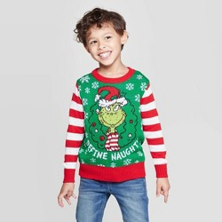 Toddler Boys' Dr.Seuss' The Grinch Define Naughty Ugly Holiday Sweater - Green/Red