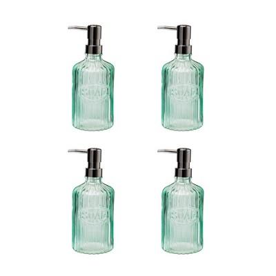 Amici Home Basin Glass Soap Pump, Green, 16oz, Set of 4