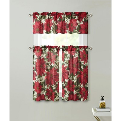 Kate Aurora Holiday Classic Poinsettia Christmas 3 Pc Kitchen Curtain Tier & Valance Set - 57 in. W x 36 in. L