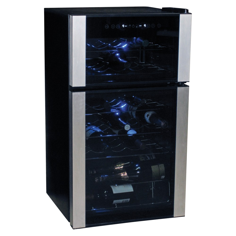 Koolatron 29 Bottle Dual Zone Compressor Wine Chiller, Black/Silver 53040960