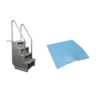CONFER STEP-1 Above Ground Swimming Pool Ladder Step System Entry w/ Liner Pad