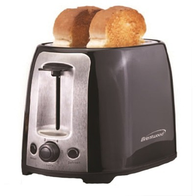 Brentwood 2 Slice Cool Touch Toaster in White and Stainless Steel