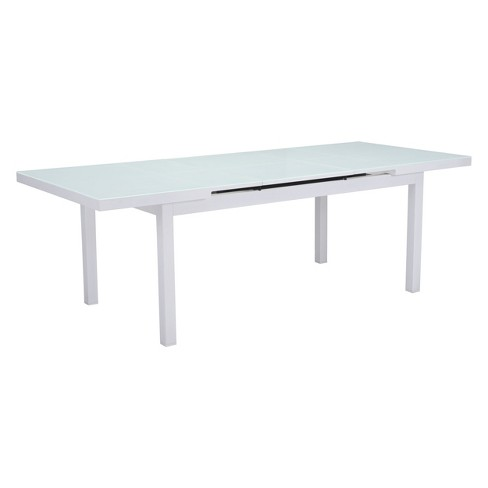 Super 71 94 Modern Expandable Outdoor Dining Table White Zm Home Onthecornerstone Fun Painted Chair Ideas Images Onthecornerstoneorg