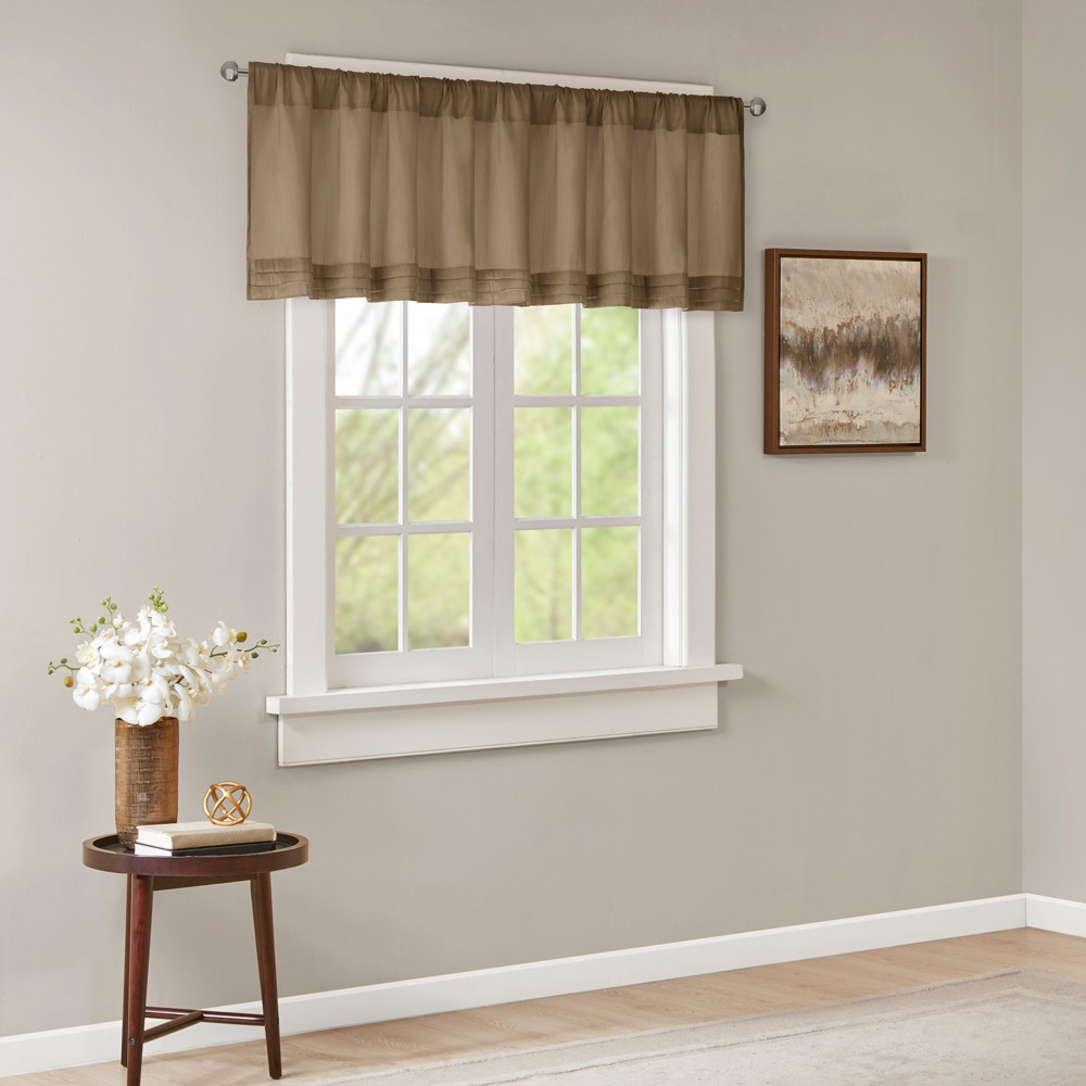Viola Faux Silk Solid Pleated Valance Bronze 50x18