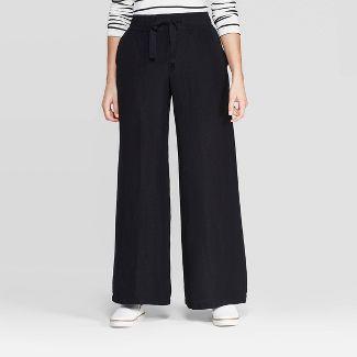 Women's Regular Fit High-Rise Wide Leg Linen Pants - A New Day™ Black XL