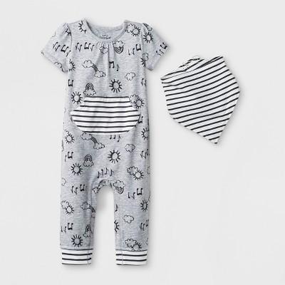 Baby Girls' 2pc Short Sleeve Jersey Romper and Bib Set - Cat & Jack™ Heather Gray 3-6M