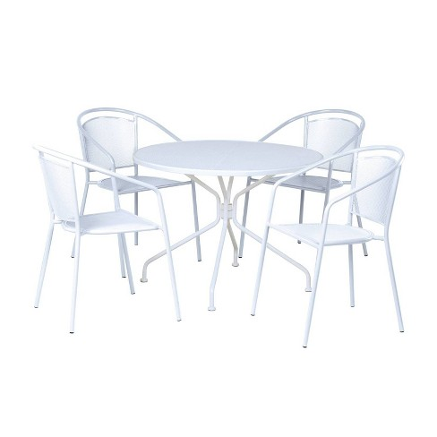 Wrought Iron Martini Cafe Dining Set with Table & 4 Chairs - Alfresco Home - image 1 of 4