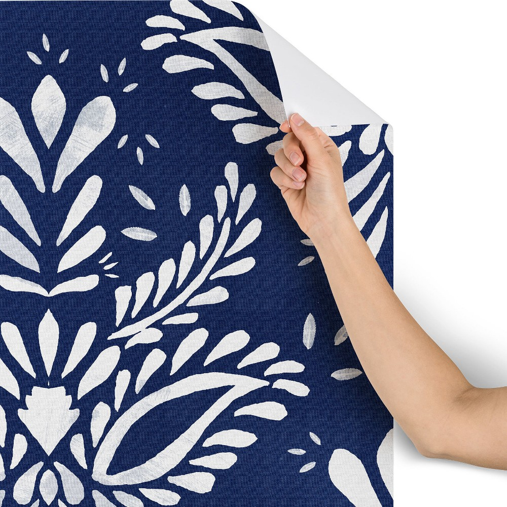 2x10 Marta Barragan Camarasa Pattern Indigo Wallpaper Blue - Deny Designs