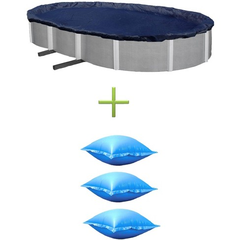 NEW Swimline 15x30 Oval Above Ground Leaf Cover + 3) Winter Closing Air Pillows - image 1 of 4