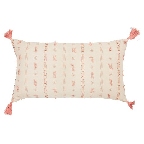 Stripes Poly Filled Pillow Light Pink - Rizzy Home - image 1 of 4