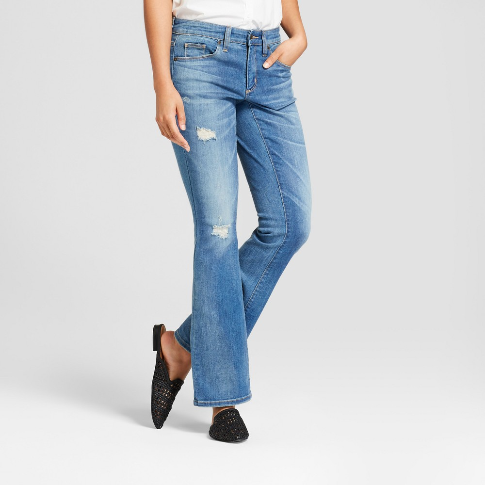 Women's Mid-Rise Destructed Skinny Bootcut Jeans - Universal Thread Light Wash 2 Short, Blue