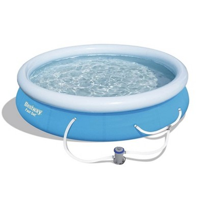 Bestway 57275E Fast Set Up 12ft x 30in Outdoor Inflatable Round Above Ground Swimming Pool Set with 330 GPH Filter Pump, Blue