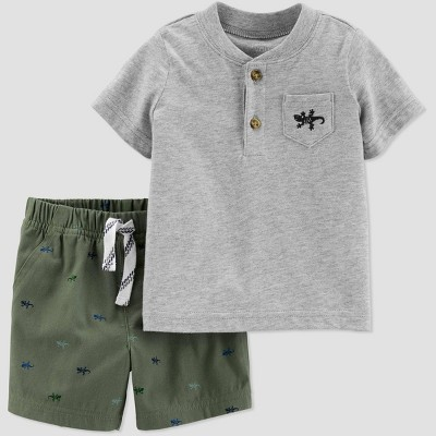 Baby Boys' 2pc Gecko Embroided Top and Bottom Set - Just One You® made by carter's Olive/Gray 6M
