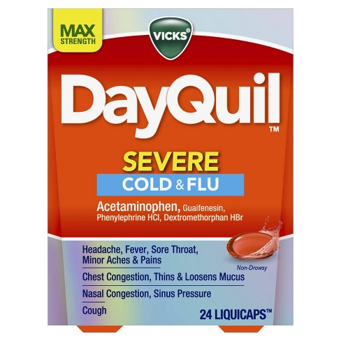 Vicks DayQuil Severe Cold & Flu Relief LiquiCaps - Acetaminophen - 24ct - image 1 of 4