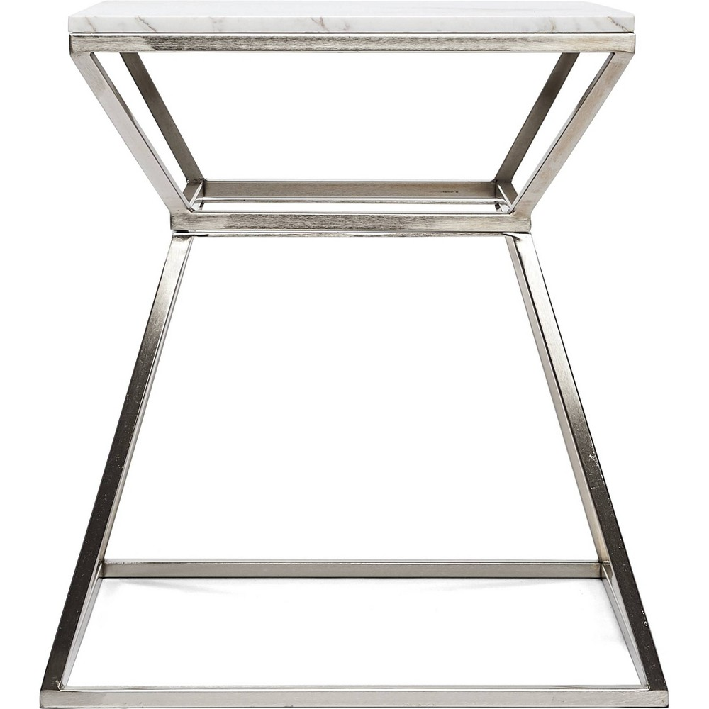 "Image of ""22"""" Audrey Marble Side Table High Silver - Adore Décor"""