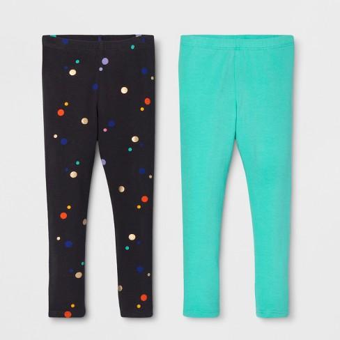 263d38d3a55e4 Toddler Girls' 2pk Leggings Set - Cat & Jack™ Polka Dot/Teal : Target