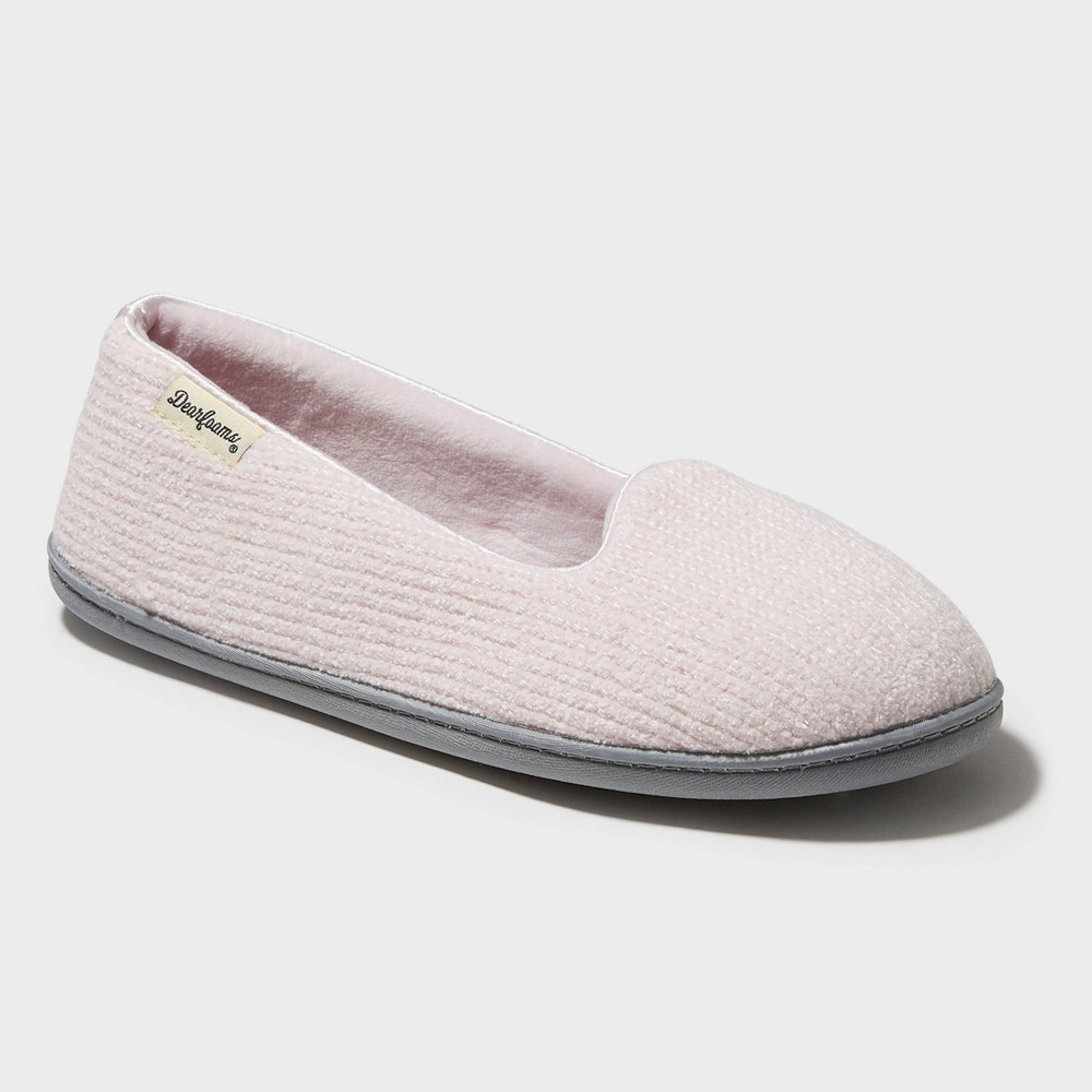 ebc26f3d95c30 Womens Dearfoams Chenille Wide Width Closed Back Loafer Slippers Pink MW 7  8 Pale Pink
