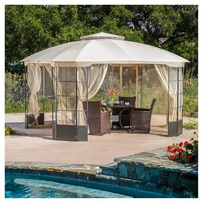 westerly 13 x 13 steel patio gazebo camel target rh target com outdoor patio gazebos lowes outdoor patio gazebo swing