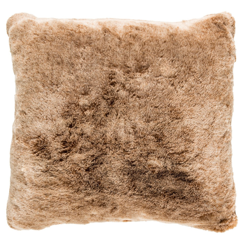 Tan Cornwall Shag Throw Pillow (18x18