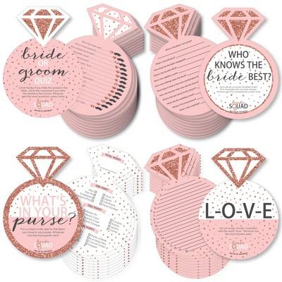 Big Dot of Happiness Bride Squad - 4 Rose Gold Bridal Shower or Bachelorette Party Games - 10 Cards Each - Gamerific Bundle