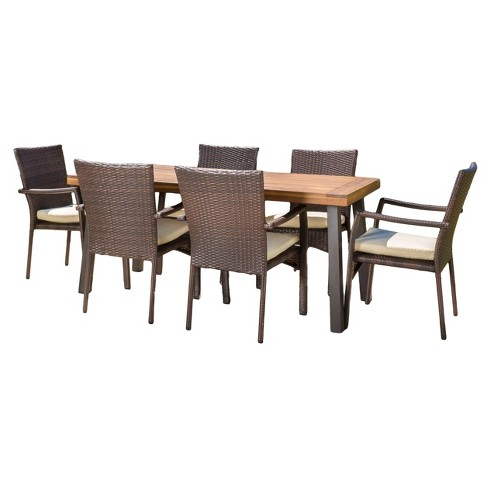Cordella 7pc Rectangle All Weather Wicker Wood Patio Dining Set