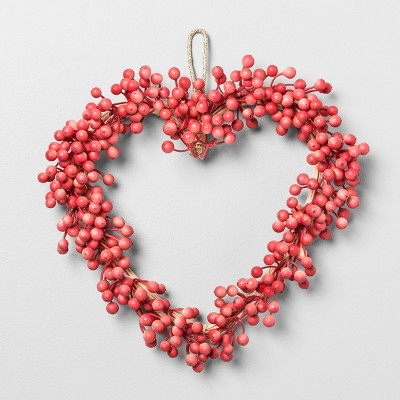 14  x 3  Artificial Heart Shaped Berry Wreath Pink/Red - Opalhouse™